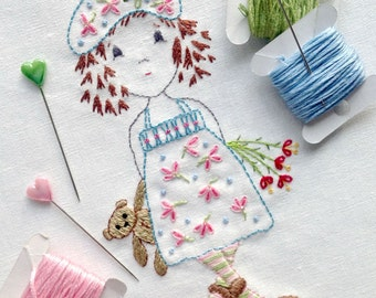 Hand embroidery pattern - 'A Pocketful of Posies' - instant PDF download