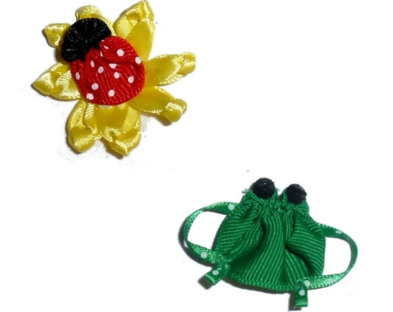 Puppy Bows ~ Frog or Ladybug flower pet dog hair bow bands or barrette
