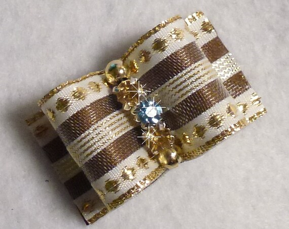 Puppy Bows ~ Gold Fancy show dog bow for Shih Tzu 7/8""