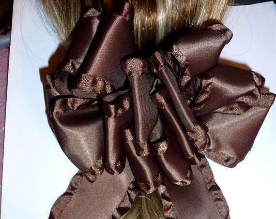 Becky Bows ~ OOAK ladies  Hand crafted taffeta ribbon BIG fashion hair bow Women or Girls  brown satin
