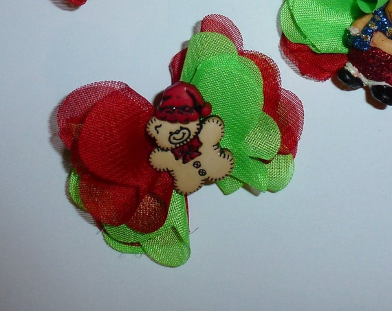 Puppy Dog Bows ~ Christmas red green ruffle edge  pet hair bow barrettes or bands (fb153)