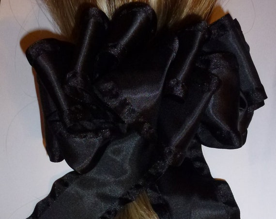 Becky Bows ~ OOAK ladies  Hand crafted taffeta ribbon BIG fashion hair bow Women or Girls  black satin