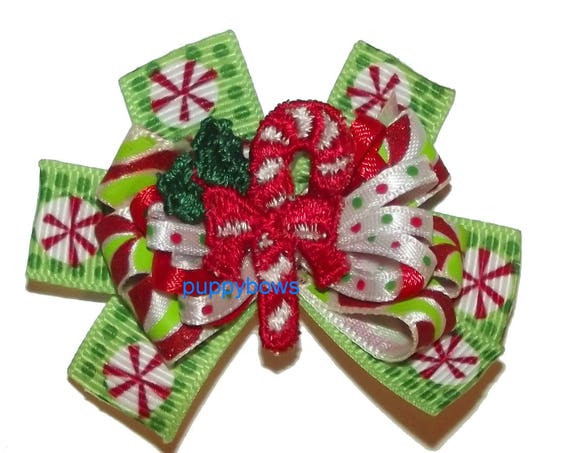 Puppy Bows ~  Christmas candy cane boutique bow green red latex bands or barrette   (fb78)