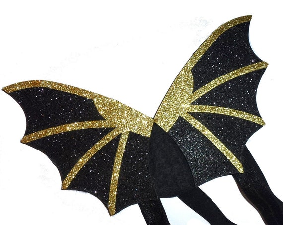Puppy Bows ~ Halloween black pink gold orange Bat wings for cats rabbits small animals dog costume  2 - 7lbs