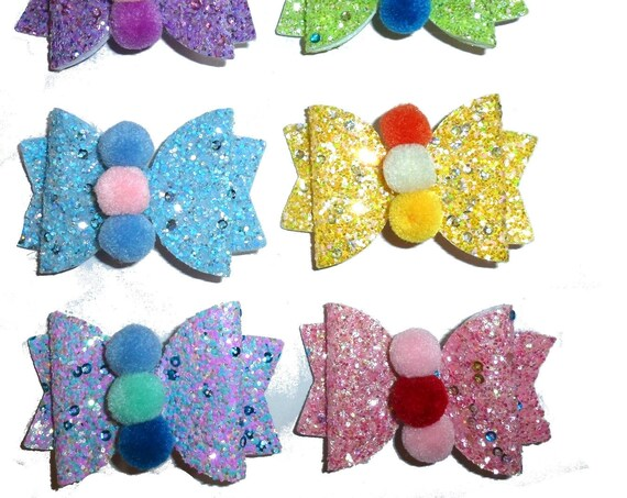 "Puppy Bows ~ Glitter pet dog collar slide accessory or 3.5"" large dog hair bow"