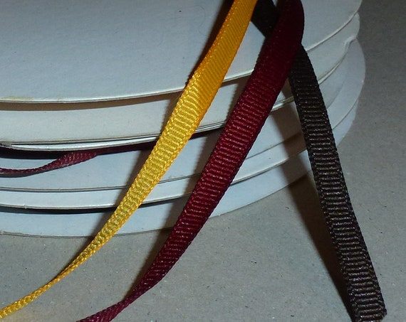 "Puppy Bows ~  craft supplies golden yellow burgundy dark brown Thanksgiving colors 1/4"" grosgrain ribbon"