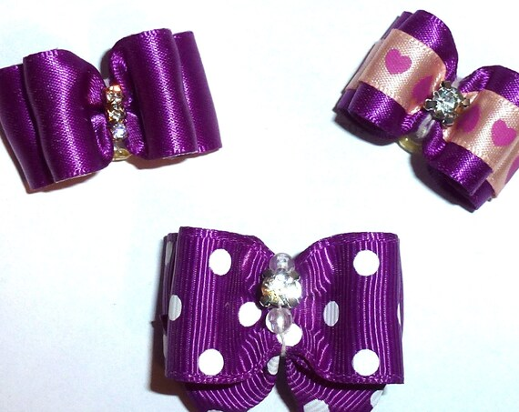 Puppy Bows ~ Purple bows for dogs 5 show bows dog bow  pet hair clip barrette or latex bands (sb1)