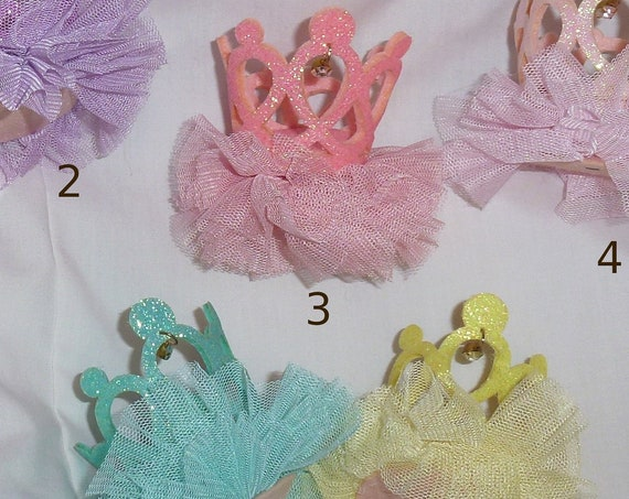 CLEARANCE ~Crown 3D glitter tiara hat pet hair bow for dogs strap barrette & clip ~USA seller (fb119)