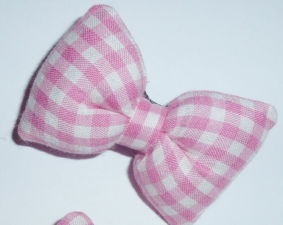 Puppy Bows ~PUFFY pink gingham dog pet  hair bowknot bow bands or barrette padded (fb112)~USA seller