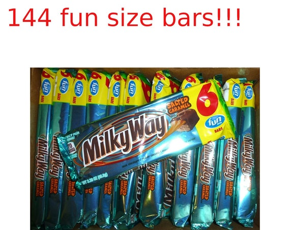 Milky Way salted caramel 144 fun size chocolate candy bars per box case great party favors!