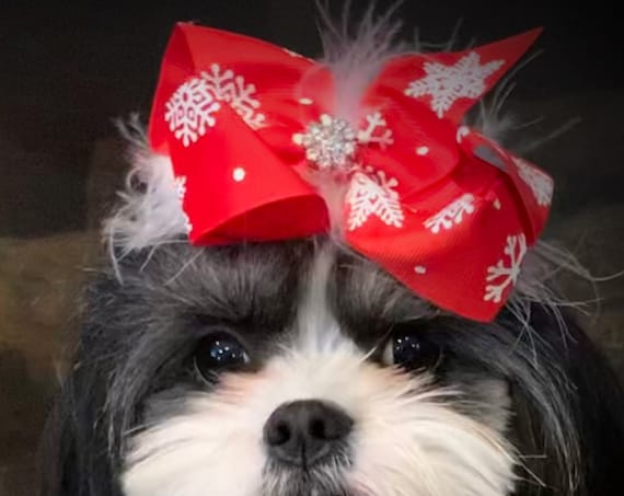 dog bow Christmas collar slide flower red white feather snowflakes  ~USA seller (dc5)