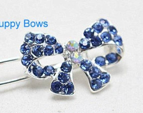 Puppy Bows ~ Tiny boys bowknot blue or multi RHINESTONE  dog bow  pet hair clip barrette