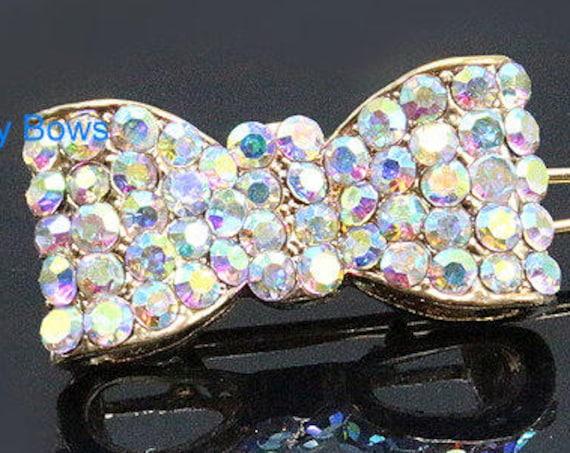 Puppy Bows ~TINY AB crystal bowknot rhinestone dog pet hair clip barrette  ~USA seller