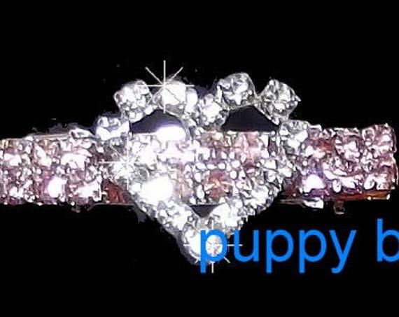 Puppy Bows ~ Tiny girls pink bar heart crystal RHINESTONE  dog bow  pet hair clip barrette