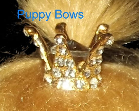 Puppy Bows ~ TINY gold or silver Rhinestone crown barrette for dogs  ~USA seller