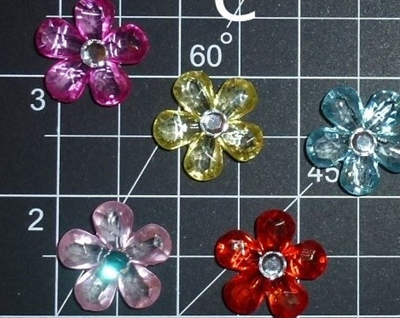 Puppy Dog Bows ~ cute five-petal flowers with rhinestone center pet hair bow barrettes or bands (fb350e)