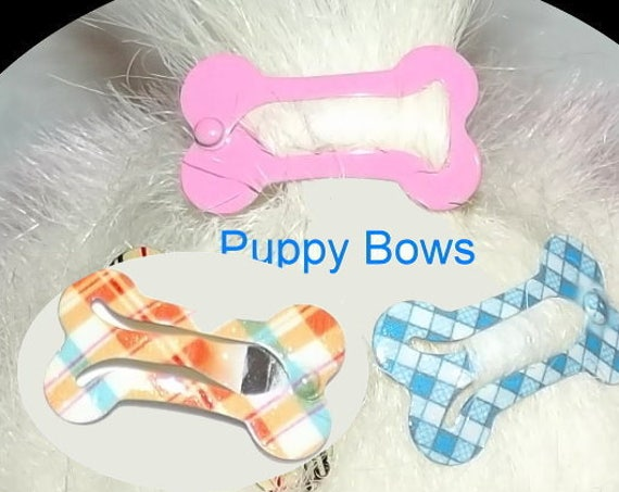 Puppy Bows ~ Barrette snap clip dog bone shape bow pet hairclip ~Usa seller