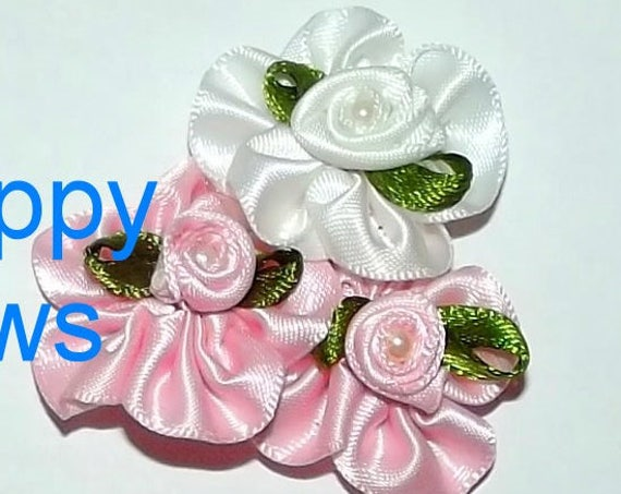 Puppy Bows ~ PINWHEEL roses tower pink/white dog grooming bow pet hair barrette  (fb42)