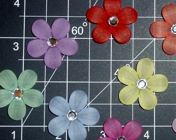 Puppy Dog Bows ~ cute five-petal flowers with rhinestone center pet hair bow barrettes or bands (fb350a)