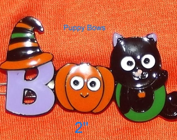 Puppy Bows ~ CLEARANCE! Halloween BOO enamel pumpkin dog hair barrette pet grooming clip