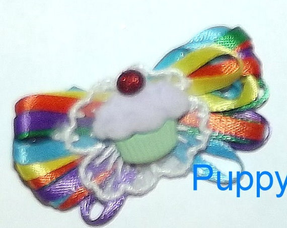 Puppy Bows ~  Rainbow cupcake loopy birthday dog bow multi loop latex bands or barrette  (fb12)