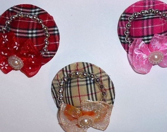 CLEARANCE ~ Pawberry hat pink khaki or red dog bow with pet hair clip barrette (fb9)