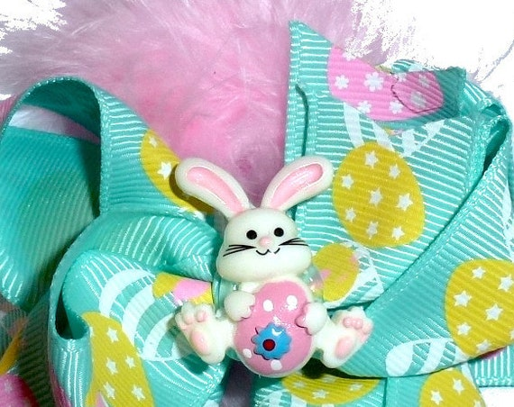 """Puppy Bows ~Easter bunny rabbit lg 3"""" dog bow  pet hair clip barrette collar slide latex bands feather boa (fb261)"""
