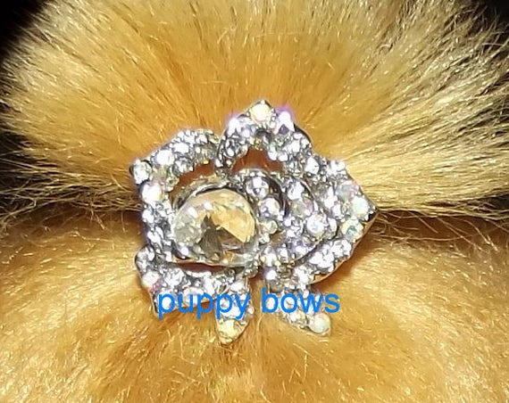 Puppy Bows ~Small SILVER rhinestone crystal ROSE dog bow  pet hair clip barrette