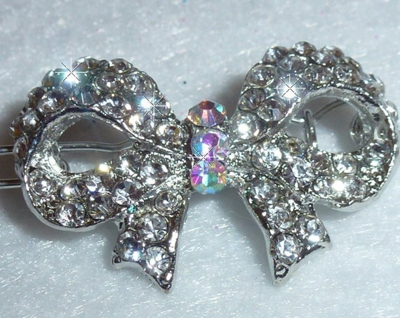 Puppy Bows ~ Crystal & AB rhinestone bowknot silver pet hair bow barrette   ~USA seller
