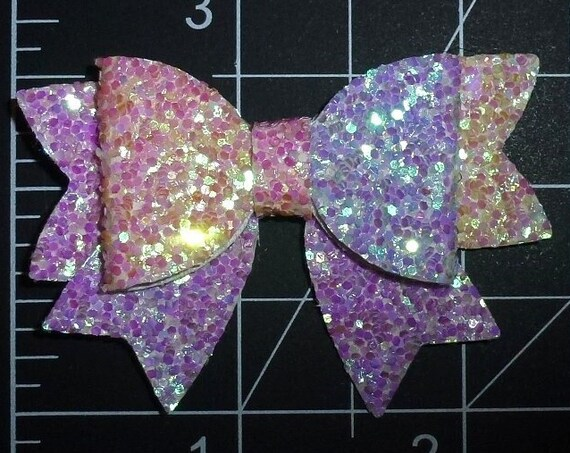 "Puppy Bows ~ purple rainbow small 2"" glitter pet hair bow  (fb264)"