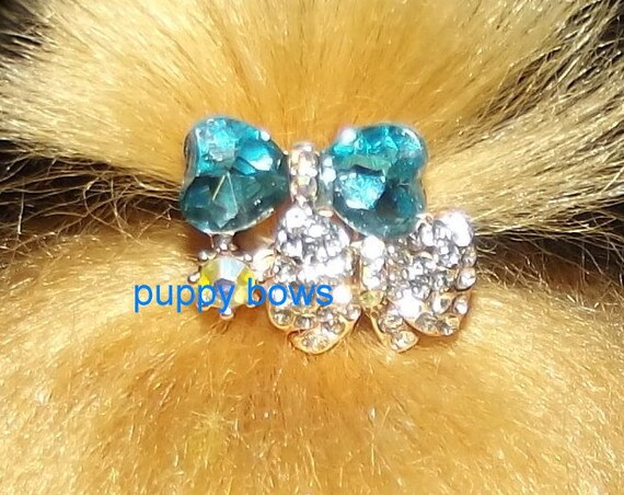 Puppy Bows ~tiny  BLUE rhinestone crystal double bowknot dog bow  pet hair clip barrette