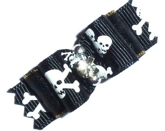 Puppy Dog Bows ~ Halloween skull crossbones black white  pet hair show bow barrettes or bands