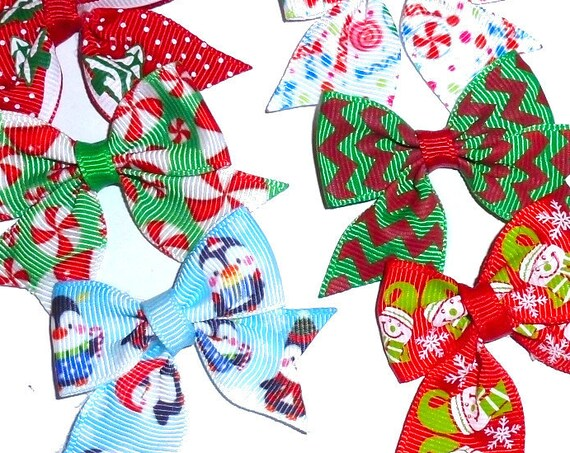 10 Christmas Santa snowmen, trees elf green/red  everyday dog groomers grooming pet hair bows (fb156)