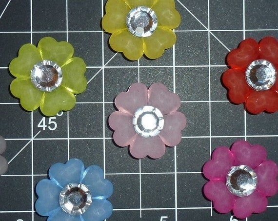 Puppy Dog Bows ~ cute five-petal flowers with rhinestone center pet hair bow barrettes or bands (fb350c)