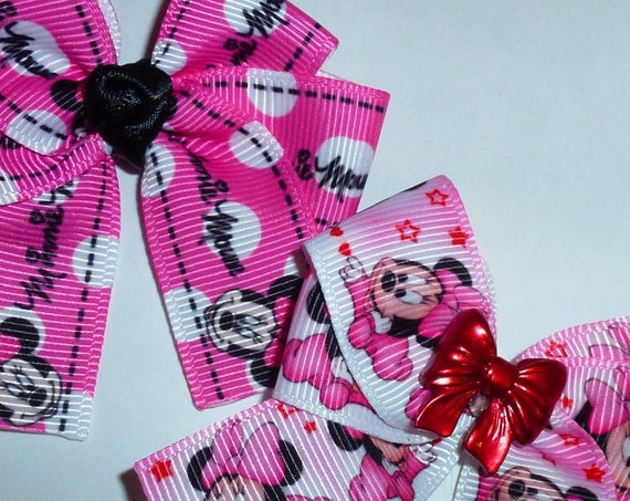 Puppy Bows ~ 2 Minnie pink black large dog Poodle pet hair bow ~Usa seller (fb87)