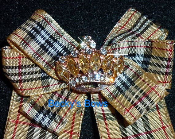 Becky Bows ~ Scottish berry tan red black plaid collar lapel pin bow large  pinback suit bow