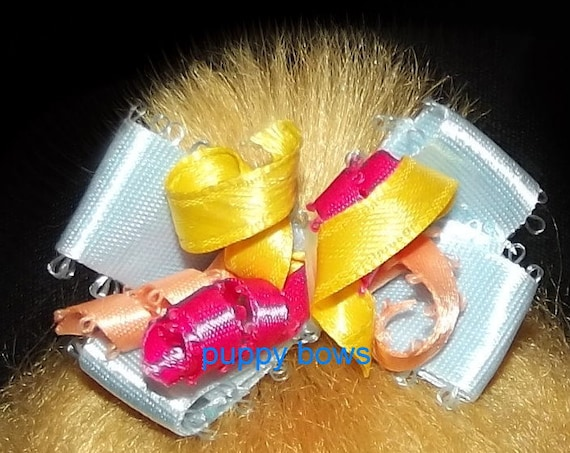 Puppy Bows ~ curly pet hair dog bow latex bands or barrette blue, yellow or pink ~Usa seller
