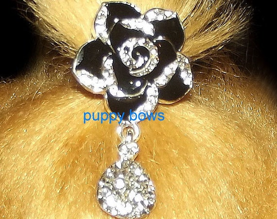 Puppy Bows ~ CLEARANCE SALE 50% OFF Rhinestone crystal 6 petal flower dangle barrette 3 styles!~