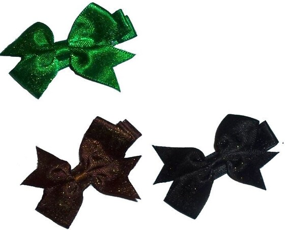 Puppy Bows ~SET OF 4 boy dog navy black  hair bowknot bow bands or barrette  (fb264)
