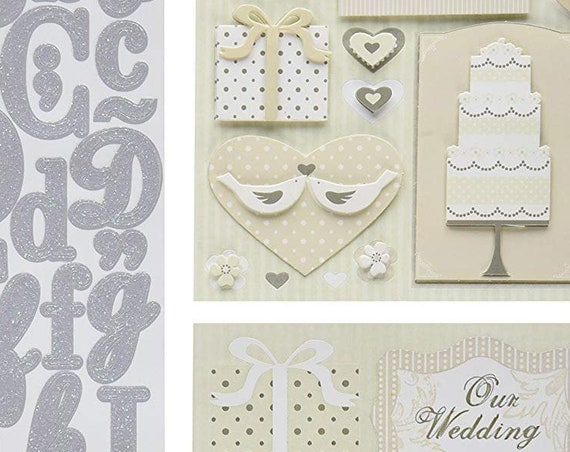 Puppy Bows ~ craft supplies scrapbook wall stickers Wedding 1 flip pack K&C company letters silver embellishments kit