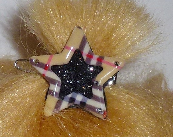 Puppy Bows ~ Pawberry brown plaid dog pet hair star and heart barrette clip (fb10)