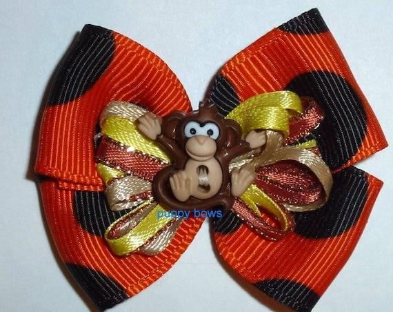 Puppy Bows ~Boys lil monkey butt bow orange brown bands or barrette   (fb85)