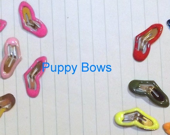 Puppy Bows ~Barrette snap clip TINY enamel HEARTS girl and boy colors shape bow dog Maltese  PINK or multi ~Usa seller