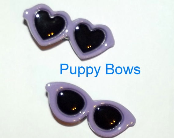 Puppy Bows ~ Purple heart barrette pet hair clip sunglasses round bow (fb32)
