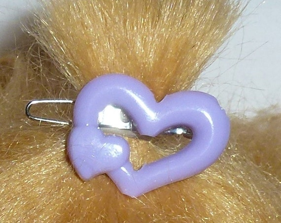 Puppy Bows ~Set of 3 dog hair barrette bowknot HEART shape tiny dogs MULTICOLORS  ~USA seller