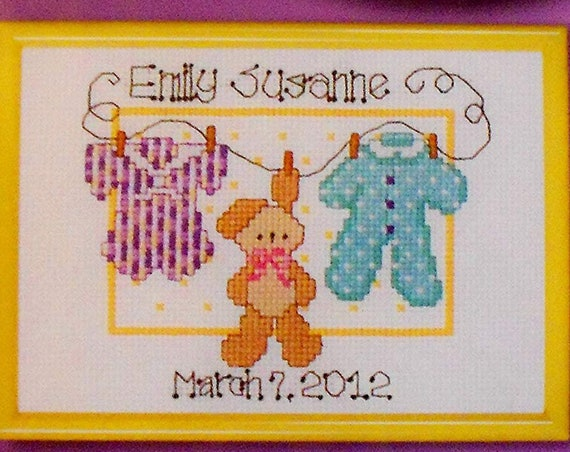 Puppy Bows ~ craft supplies BUNNY rabbit birth announcement counted cross stitch COMPLETE kit