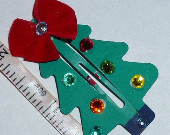 Puppy Dog Bows ~ Christmas tree rhinestones snap clip bow for pets (fb155)