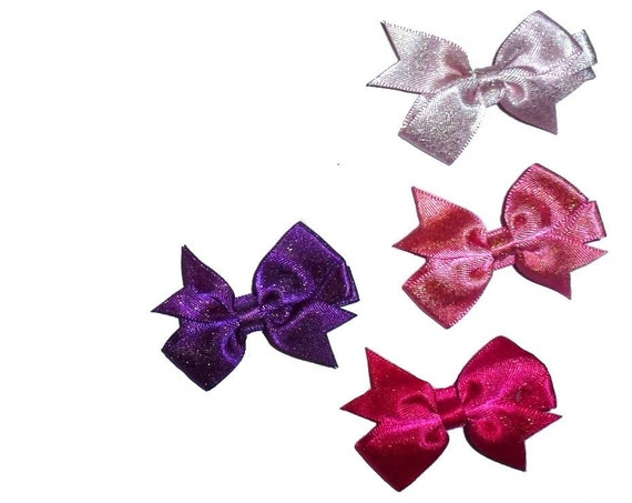 Puppy Bows ~SET OF 4 girl dog metallic shimmer  hair bowknot bow bands or barrette  (fb264)