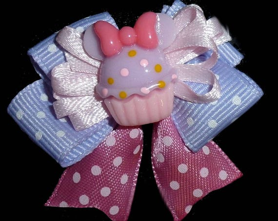Puppy Bows ~ Minnie Mouse pink purple birthday cupcake dog bow bands or barrette clips  (fb85)