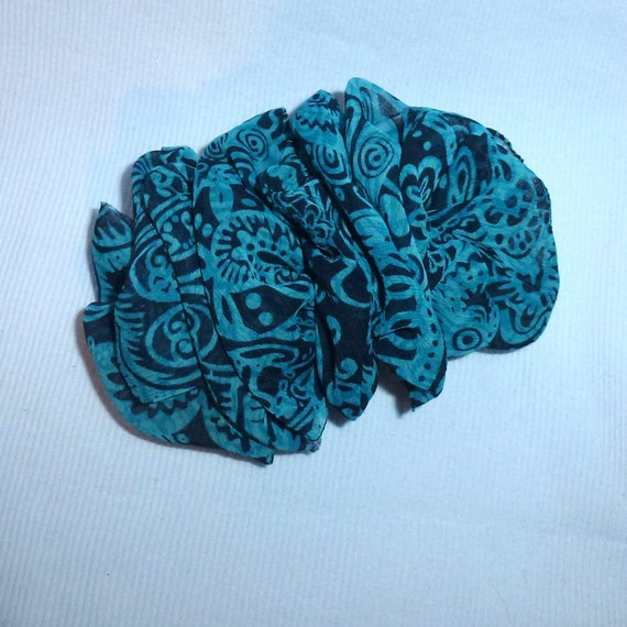Becky Bows ~  Barrette ribbon Hand crafted over sized  BIG hair bow Women or Girls teal blue black